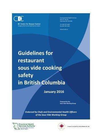 Guidelines for restaurant sous vide cooking safety in British Columbia