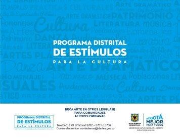 BECA ARTE EN OTROS LENGUAJE PARA COMUNIDADES AFROCOLOMBIANAS