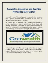 Growealth - Experience and Qualified Mortgage Broker Sydney