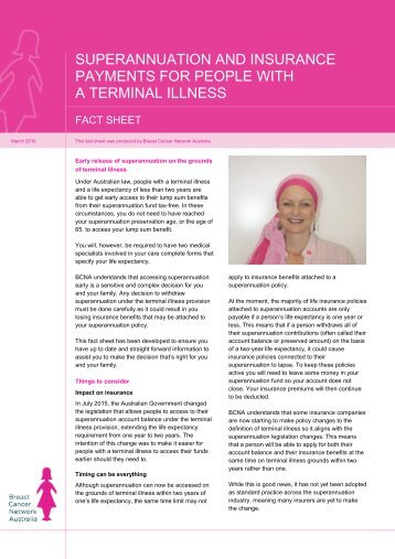 SUPERANNUATION AND INSURANCE PAYMENTS FOR PEOPLE WITH A TERMINAL ILLNESS
