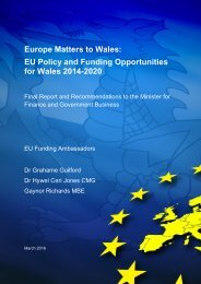 Europe Matters to Wales EU Policy and Funding Opportunities for Wales 2014-2020