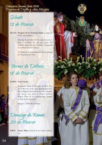 Sábado 12 de Marzo Viernes de Dolores 18 de Marzo Domingo de Ramos 20 de Marzo