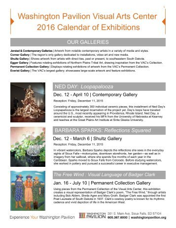 Washington Pavilion Visual Arts Center 2016 Calendar of Exhibitions