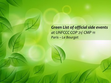 Green List of official side events at UNFCCC COP 21/ CMP 11