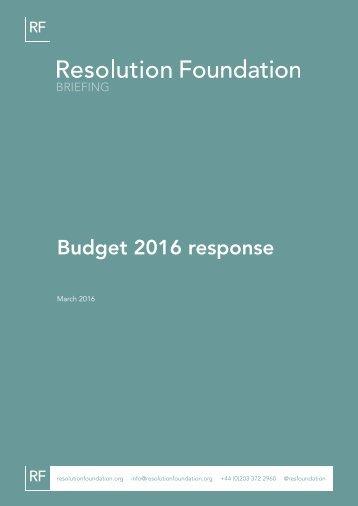 Budget 2016 response