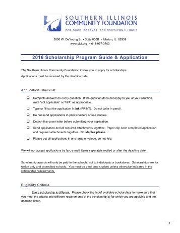 2016 Scholarship Program Guide & Application
