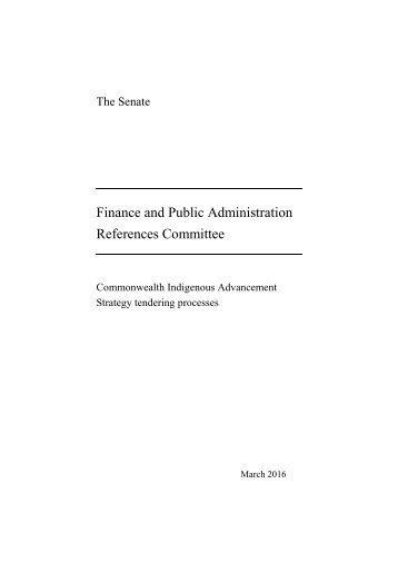 Finance and Public Administration References Committee