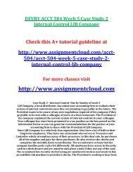 DEVRY ACCT 504 Week 5 Case Study 2 Internal Control LJB Company