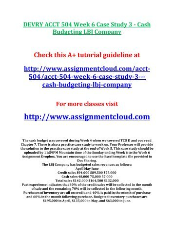acct504 case study 3 on cash budgeting