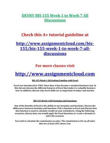 DEVRY BIS 155 Week 1 to Week 7 All Discussions