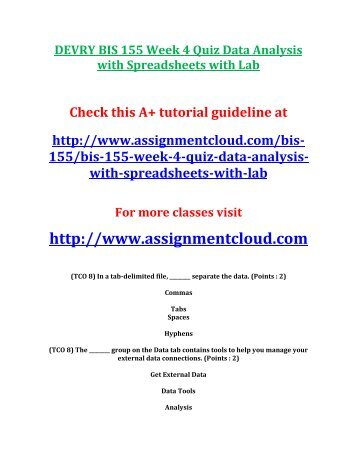 bis 155 week 7 i lab The ultimate goal is to prepare a memo to management, using the week 6 ilab memo template before you begin working with excel, it might be a good idea to take a look at this template, so that you can envision your end results.