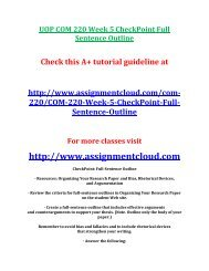 UOP COM 220 Week 5 CheckPoint Full Sentence Outline