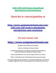 UOP COM 220 Week 6 CheckPoint Introduction and Conclusion