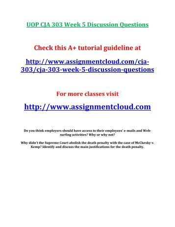 UOP CJA 303 Week 5 Discussion Questions