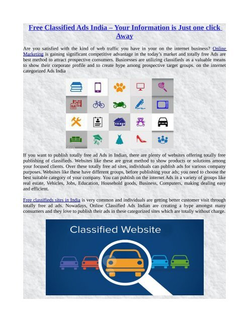 Free Classified Ads India – Your Information is Just one