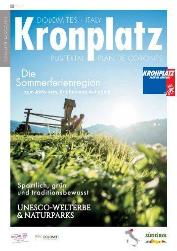 Sommermagalog 2016 KRONPLATZ Südtirol