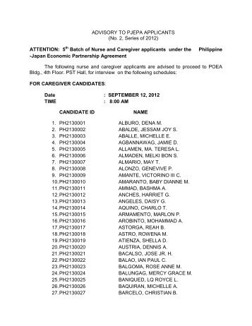 ADVISORY TO PJEPA APPLICANTS (No. 2, Series of 2012 ...