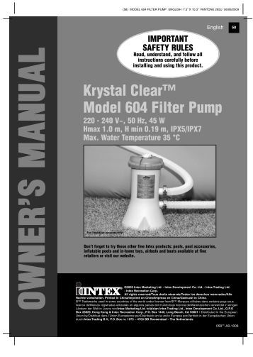 Krystal clear model 604 filter pump intex development for Atlantis piscine