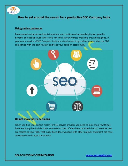 How to get around the search for a productive SEO Company Dubai