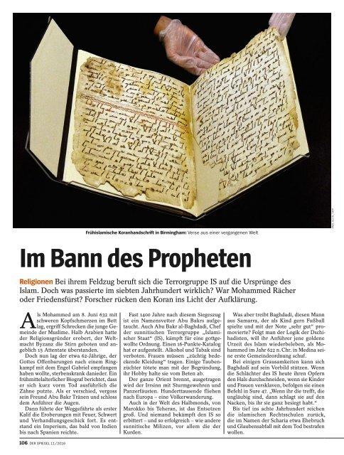 IM BANN DES PROPHETEN_SPIEGEL_2016_11