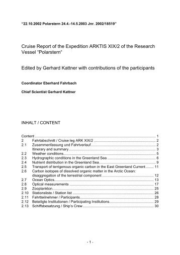 Cruise Report of the Expedition ARKTIS XIX/2 of the Research ...