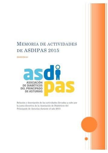 MEMORIA ASDIPAS 2015