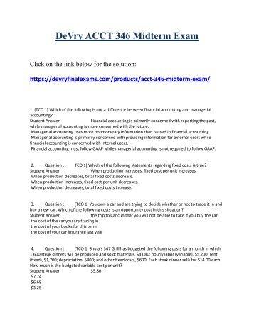 ACCT 346 Midterm Exam