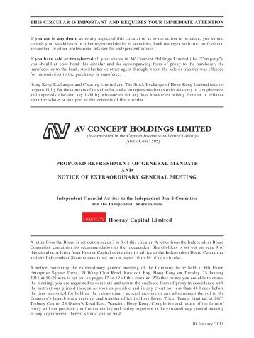 Detail - AV Concept Holdings Limited