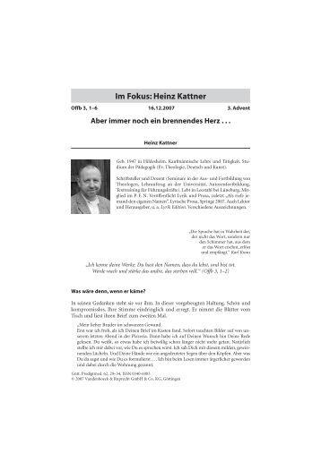 Im Fokus: Heinz Kattner - reformiert-info.de
