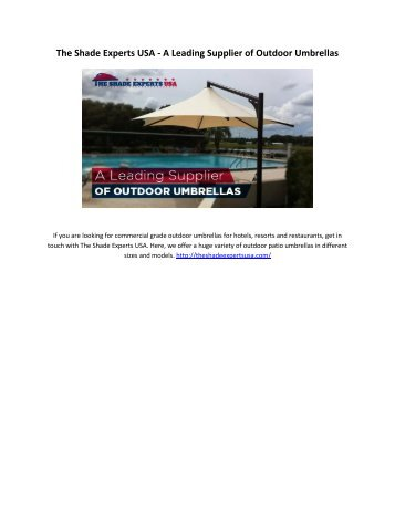 The Shade Experts USA - A Leading Supplier of Outdoor Umbrellas