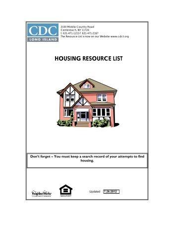 HOUSING RESOURCE LIST