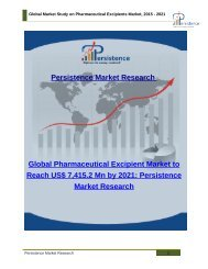 Global Market Study on Pharmaceutical Excipients Market, 2015 - 2021