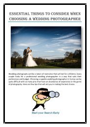 Essential Things to Consider When Choosing a Wedding Photographer