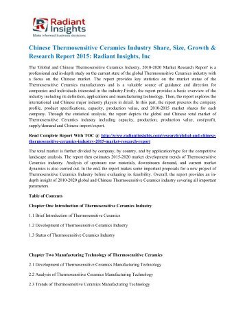 Chinese Thermosensitive Ceramics Industry Share, Size, Growth & Research Report 2015 Radiant Insights, Inc