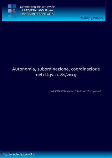 Autonomia subordinazione coordinazione nel d.lgs n 81/2015
