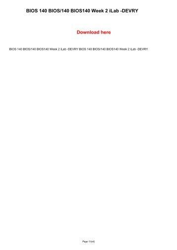BIOS 140 BIOS/140 BIOS140 Week 2 iLab -DEVRY
