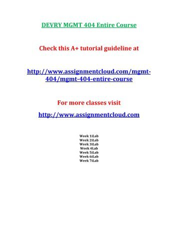 DEVRY MGMT 404 Entire Course