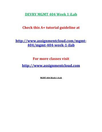 DEVRY MGMT 404 Week 1 iLab