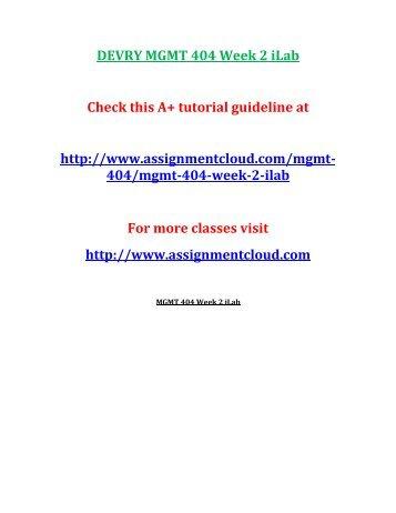 DEVRY MGMT 404 Week 2 iLab