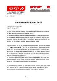 Vereinsnachrichten 2016