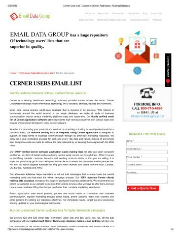 Customized Email List of Cerner Users Across US