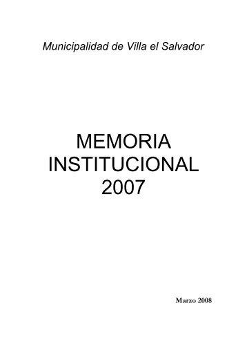 Memoria Gestión 2007 - Municipalidad de Villa El Salvador