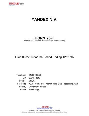 YANDEX N.V