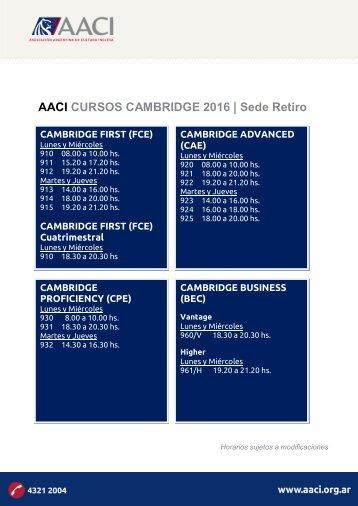 AACI CURSOS CAMBRIDGE 2016 | Sede Retiro