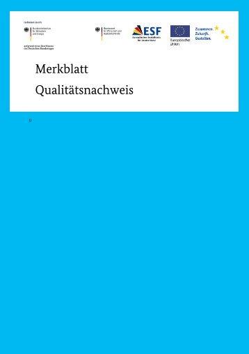 Merkblatt Qualitätsnachweis