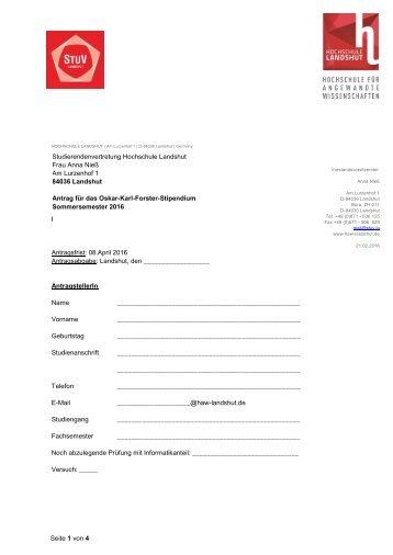 Stipendium Antrag