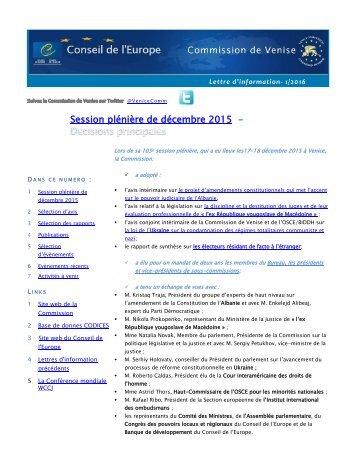Session plénière de décembre 2015 -