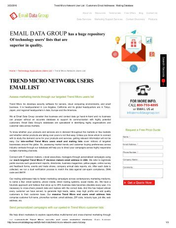 Email List of Trend Micro Network Users