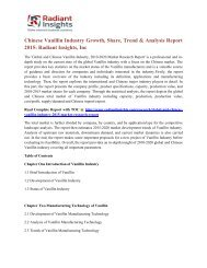 Chinese Vanillin Industry Growth, Share, Trend & Analysis Report 2015 Radiant Insights, Inc