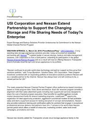 USI Corporation and Nexsan Extend Partnership to Support the Changing Storage and File Sharing Needs of Today's Enterprise